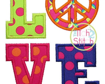 Peace Sign Love Applique Design For Machine Embroidery INSTANT DOWNLOAD now available