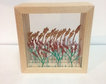 Reeds and Flowers Shadow Box (Small)