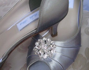 Silver Bridal Shoes with Crystal Brooch - Over 100 Color Shoe Choices to Pick From