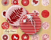 INSTANT DOWNLOAD - Red Designs 1 inch Circles Digital Collage Sheet