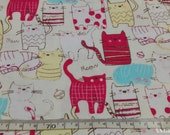 "Smiley cats - 5 colors  - half yard - cotton linen - animal fabric - for tote - Check out with code ""5YEAR"" to save 20% off"