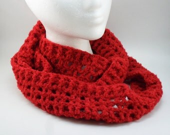 Amore Infiniti Scarf in Red - Super Soft Light weight Airy Skinny