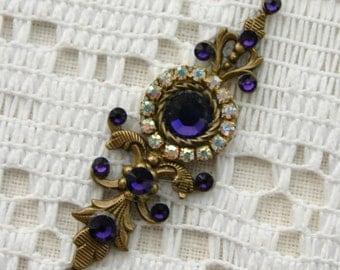 Large Purple Velvet Bindi in Oxidized Brass