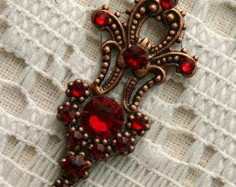 Crimson Bindi in Oxidized Copper