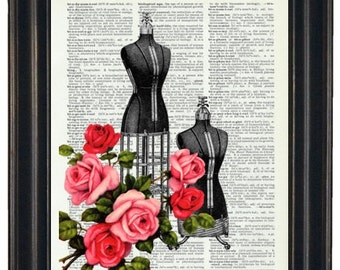 BOGO 1/2 OFF Dictionary Art Prints Sheet Music Dress Forms with Flowers  A HHP Original Concept and Design Steampunk Art Prints Wall Art