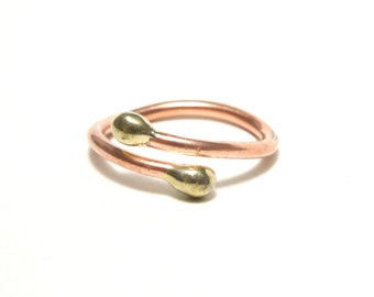 Copper and Silver Tip Ring, Women, Teen, Adjustable, Ready To Ship,