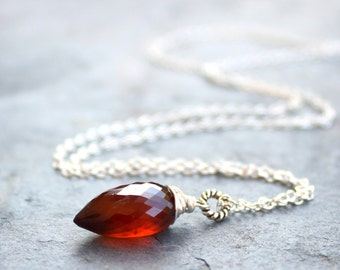 Spessartite Garnet Necklace Rust Oxblood Pendant Necklace, Sterling Silver Conch Briolette Gemstone
