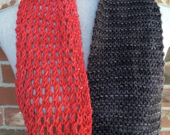 Hand Knit Color Block Infinity Scarf - Coral Pink Charcoal Grey - Ready to Ship Mothers Day Gift
