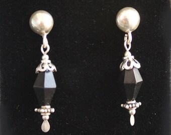 Authentic Faceted Jet Handcrafted Gemstone Earrings OOAK JetEarrA