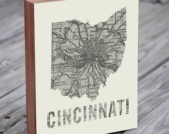 Cincinnati - Cincinnati Art - Ohio Art - Cincinnati Map - Cincinnati Map Art- Wood Block Wall Art Print