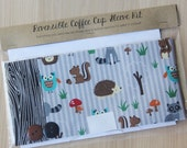 DIY Coffee Cup Sleeve Sewing Kit - Forest Animals and Faux Bois - Ready to Ship