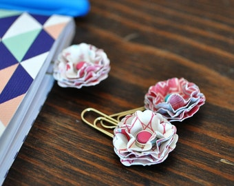 Mini Paper Flower Paperclip Bookmarks Set of 3