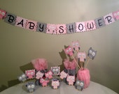 Owl Baby Shower Decorations Package - Owl Baby Shower - Pink White Grey- Baby Girl Decorations