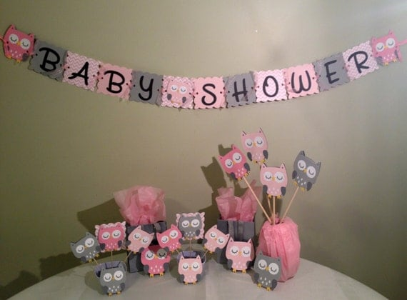 Pink, Gray And White Baby Shower Decorations  Tissue Paper Pom And Garland  Kit