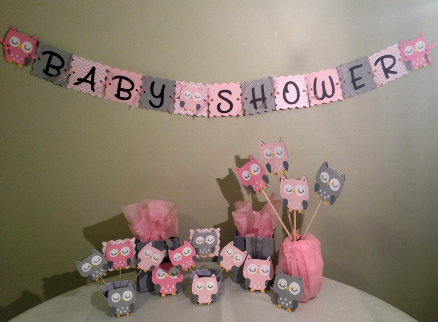 Owl baby shower decorations package owl baby shower pink for Baby girl shower decoration