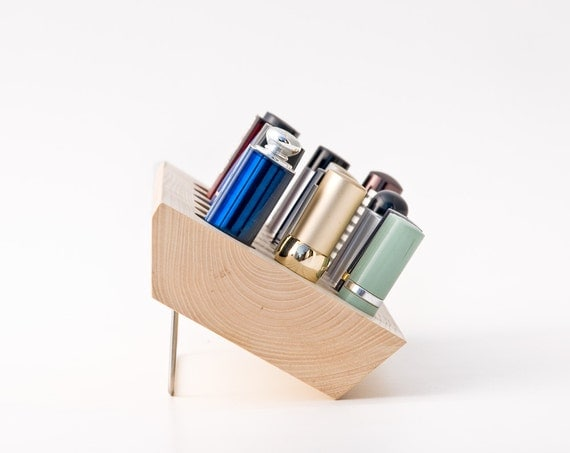Lipstick Holder Lipstick Organizer Natural Wood Makeup Organizer for Countertop and Wall Mount 20 Spaces EMMA