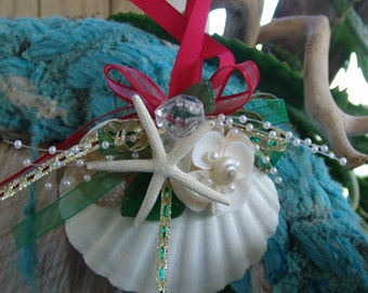Coastal Ornaments- White Baking Scallop with Pearl Abalone & White Finger Star Fish Ornament- Great for Christmas or Sea Inspired Decorating