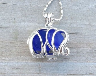 Sea Glass Elephant Locket Necklace Blue Cobalt Deep by WaveofLife