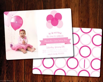 Set of 12 - Pink Balloon invitations, double sided
