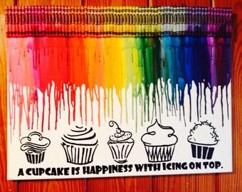 Cupcake love melted crayon art