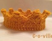 Princess or Prince Crown Gold Crochet Headband, Baby Crown for Dress Up, Pretend Play, Adventure Play,Birthday accessory, Photo prop