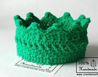 Princess or Prince Crown, Hot Green Crochet Headband, Baby Crown for Dress Up, Birthday accessory,Messy Bun Hat, Photo prop, Made in USA