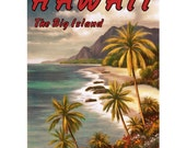 HAWAII The Big Island 4- Handmade Leather Mini Wallet / Card Holder - Travel Art