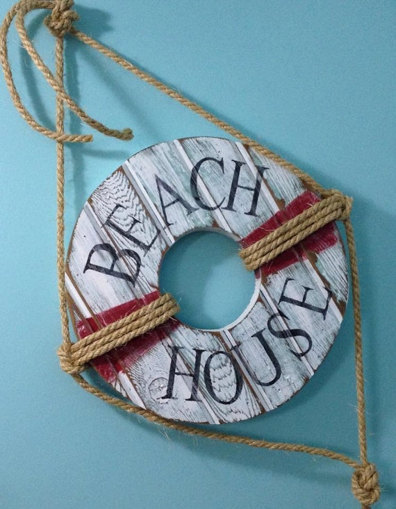 Wall Decoration Rings : Life preserver ring sign beach house wall art by castawayshall