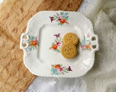 Vintage Floral Serving Plate with Double Handles. Tea Party Plate. Floral Tableware. Bridal Tea Parties. Entertaining. Cottage Style.