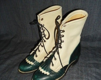SALE Cream & Green Spectator Leather Vintage 1980's Laredo Kiltie Ropers Boots 5