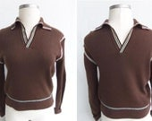 Vintage 70s Pullover Sweater Brown Knit with Stripes Unisex Size M Men or L / XL Women