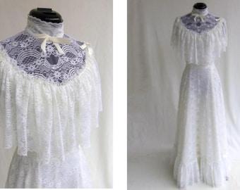 Vintage 70s Wedding Dress Hippie Boho Victorian Prairie White Lace Size XS / S  Like New