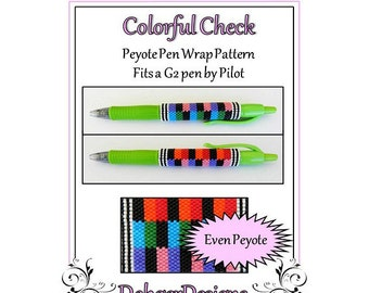 Bead Pattern Peyote(Pen Wrap/Cover)-Colorful Check
