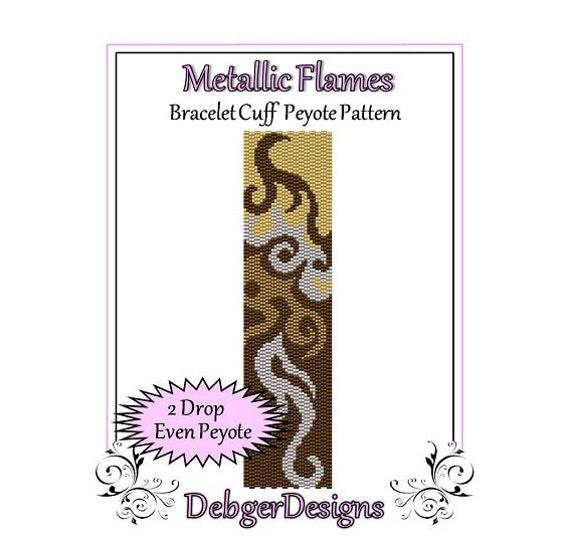 Bead Pattern Peyote(Bracelet Cuff)-Metallic Flames