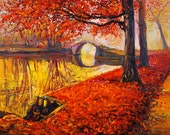 Fall Colors2-Original Oil Landscape Painting on canvas-- 26 x 20 Rich Impressionistic Art by Ivailo Nikolov