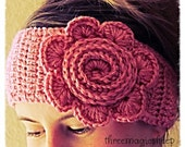 Crochet Flower Headband head wrap earwarmer - adult size - soft pink