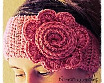 Crochet Flower Headband head wrap earwarmer - adult size - soft pink