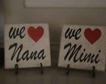 Listing for 1 tile-We love Mimi Nana Grandparent Tile with vinyl lettering Christmas, Birthday, Mother's Day!