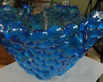 Fruit Bowl Fused Glass Cobalt blue fused glass marble bowl