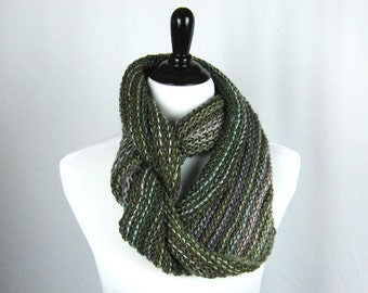 Cowl, Infinity Scarf, Hand Knit, Wool, Acrylic Yarn, Olive Green, Plum, Silver, Beige, Warm, Oversize, Handmade Gift, Cozy Wrap, Winter Wear