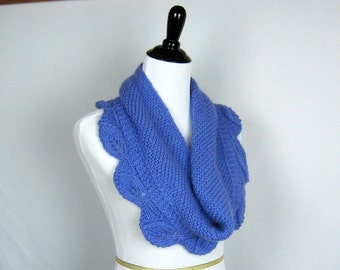 Hand Knit Cowl, Angora Blend, Periwinkle, Infinity Scarf, Wrap, Lacy Leaves Edging, Unique Original Design, Handmade, Warm, Soft, Cozy Gift
