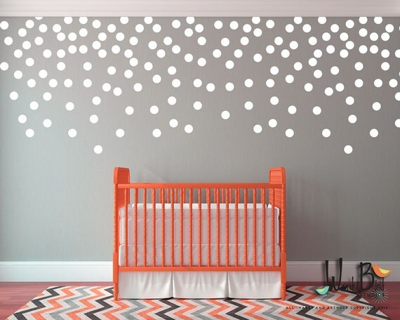 Polka dots decals 1 color set confetti dots by for Polka dot decorations for bedrooms