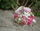Custom Brooch Bouquet Beach Wedding | Medium Floral Bridal Bouquet | Destination Wedding | Romantic Blush Pink Silk Flowers, Enamel Brooches