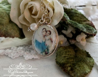 Virgin Mary and Child Oval  Porcelain Sterling Freshwater Pearl Catholic Religious Pendant Necklace