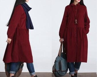 Romatic Corduroy Long sleeved Long Maxi Dress - Red - Women Dress Long Blouse(S to M )