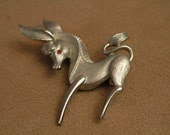 Vintage 60s Donkey Pin   - 1960s Figural Brooch -  Democratic Pin