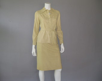 Vintage 70s Tan Ultra Suede Dress -1970s Top and Skirt Belt