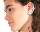 Ear Cuff Earrings,White Opal Climbing cuff earrings, Swarovski White Crystal Ear Wrap,Bridal jewelry Wedding Crystal earrings Opal earrings.