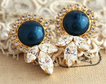 Navy Blue earrings,Petrol Blue Pearl Earrings,Bridesmaids Earrings,Bridal Earrings,Blue Pearl Earrings,Midnight Blue Pearl Earrings
