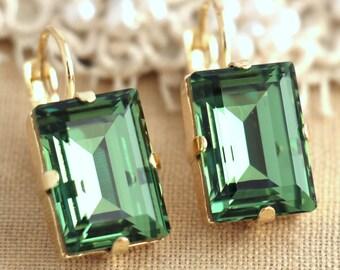 Erinite green Color Gold drop earrings, Swarovski earrings, Wedding jewelry, Estate earrings, Emerald cut earrings, Gift for her, earrings.